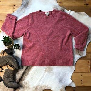 Eddie Bauer pink merino wool crew neck sweater L.